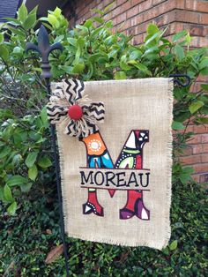 Personalized Initial w Last Name Burlap Yard Garden / Estate Flags by CherilynsCreations on Etsy https://www.etsy.com/listing/246929526/personalized-initial-w-last-name-burlap