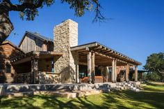 A modern-rustic ranch house designed as a family retreat by Cornerstone Architects is nestled on a acres property near Llano in Texas Hill Country. Texas Hill Country, Hill Country Homes, Country Style, Cabana, Rustic Barn, Modern Rustic, Rustic Patio, Rustic Home Design, Modern Farmhouse Exterior