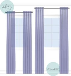 Hanging Drapes hang drapes high and wide to make your room and your windows look