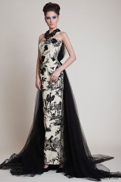 azzi and osta spring 2014 strapless couture dress back tulle back train      jaglady