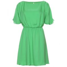 Alice + Olivia Bette Silk Dress ($332) ❤ liked on Polyvore featuring dresses, vestidos, green, robes, ruched dress, green cocktail dress, ruched cocktail dress, green evening dresses and silk dress