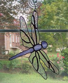 Dragonfly Stained Glass Suncatcher Garden by StainedGlassYourWay                                                                                                                                                      More