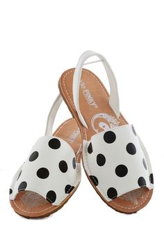 Quick Style Sandal - White, Black, Polka Dots, Flat, Slingback, Casual, Summer, Faux Leather