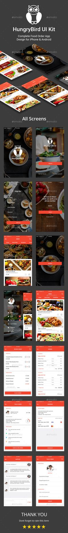 HungryBird - Food Order App UI Kit Template PSD. Download here: https://graphicriver.net/item/hungrybird-food-order-app-ui-kit/16261363?ref=ksioks