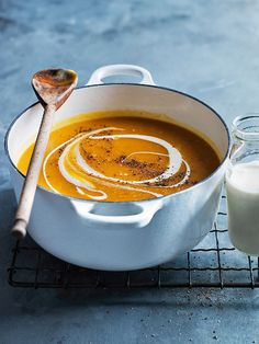 I love pumpkin, but I really don't like having to peel it. This roasted pumpkin soup has no peeling or chopping! Just roast on a tray, scoop out the flesh and blend! So simple.