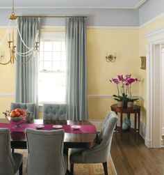 Lemon Sorbet is paired with a dark, rich wood, a bright raspberry for a pop of color and a soft, cool grey.