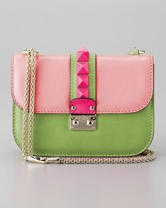 Valentino Glam Lock Small Bag in Light Pink/Green at Neiman Marcus.