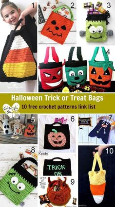 Here is the link list 107 with 10 free crochet Haloween Trick or Treat bags. Here is the link list 107 with 10 free crochet Haloween Trick or Treat bags. Minion Crochet Patterns, Pokemon Crochet Pattern, Halloween Crochet Patterns, Knitting Patterns, Crochet Snowman, Crochet Pumpkin, Crochet Fall, Holiday Crochet, Crochet Poppy