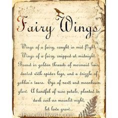Fairy Wings Spell print. Printed on matte archival fine art paper, with archival pigment ink which is waterproof and has a wonderful richness.
