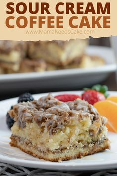This made from scratch sour cream coffee cake is made with a flavorful cinnamon filling and topped with buttery and cinnamon goodness.  #coffeecake #coffee #cake #breakfast #breakfastcake #dessertforbreakfast #dessert #brunch #cinnamon #baking #scratchbaking #cakerecipes #glaze Best Brunch Recipes, Healthy Cake Recipes, Dump Cake Recipes, Homemade Cake Recipes, Cheesecake Recipes, Baking Recipes, Cookie Recipes, Dessert Recipes, Yummy Recipes