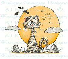 Mummy Cat Halloween - Halloween Images - Halloween - Rubber Stamps - Shop