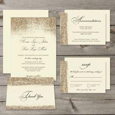 Gold Glitter Wedding Invitation Set Printable Digital Files by GaiaDesignStudios on Etsy https://www.etsy.com/listing/198476988/gold-glitter-wedding-invitation-set