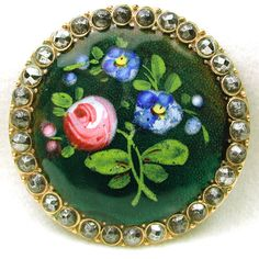 Antique French Enamel Button Hand Painted Floral w/ Cut Steel Border Lg Sz | eBay