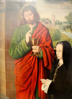 Anne of France, Lady of Beaujeu and Duchess of Bourbon, and her daughter Suzanne presented by John the Evangelist by Jean Hey, around 1492-1493. Musee du Louvre.