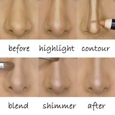Make up contour makes the nose on your face look nothing like the nose on your face. Nose Contouring, Contour Makeup, Contouring And Highlighting, Skin Makeup, Strobing Makeup, Big Nose Makeup, Concealer, Makeup Ideas, Makeup Ideas