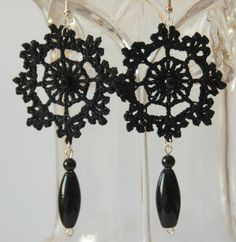 Black crochet earring  Crochet earring jewelry  by lindapaula, €8.00