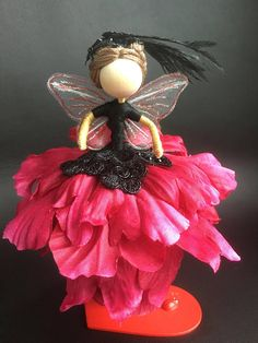 Fairy Flower Doll Party-MySweetpeanCo...gown is detailed with lace, sequins and other embellishments to make it a one of its kind ball gown-- individual style hair with embellishments to dress their hair up..Materials-natural wood, lace, lace sequin black lace, black sequin, embroidery thread