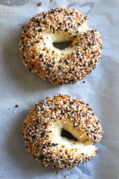 This easy homemade bagel recipe is made from scratch with just five (5) ingredients – flour, Greek yogurt, egg white, baking powder and salt! No yeast, no boiling, no fancy mixer. Bake them in the oven or in the air-fryer!