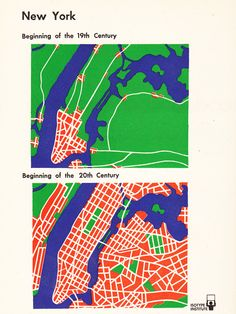 Map of New York by Otto Neurath British vs. American Politics in Minimalist Vintage Infographics | Brain Pickings