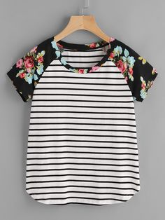 SHEIN 2017 New Womens Tees and Tops Summer Multicolor Short Sleeve T-shirt Floral Raglan Sleeve Striped Curved Hem Tee Umgestaltete Shirts, White Short Sleeve Tops, Striped Knit, Sewing Clothes, Clothes For Women, Tee Online, Striped Blouses, Stripe Top, Floral Stripe