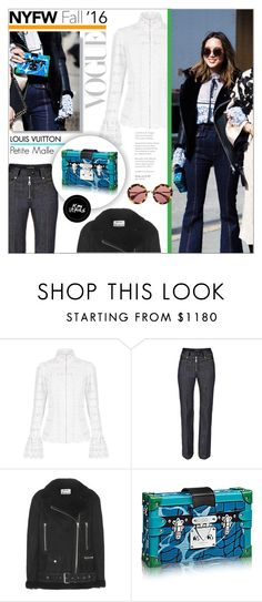 """""""Day Two: The Best NYFW Street Style"""" by maris-go-round ❤ liked on Polyvore featuring Louis Vuitton, Acne Studios, Miu Miu, women's clothing, women, female, woman, misses, juniors and NYFW"""
