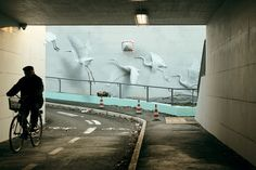 Ethereal Bird Murals on the Streets of Riccione by 'Eron'   http://www.thisiscolossal.com/2015/05/ethereal-bird-murals-on-the-streets-of-riccione-by-eron/