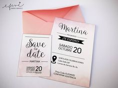 Invitaciones de 15 años💞 Tarjeta Save the Date, impresas en papel texturado. 18th Birthday Party, Sweet 15, Ideas Para Fiestas, Outdoor Parties, Invitation Design, Save The Date, Wedding Invitations, Outfits, 15 Dresses