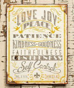 'Love Joy & Peace' Wall Sign