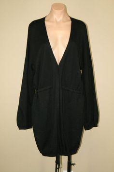 NWT AK Anne Klein Cotton Silk Cashmere Blend Black Duster Long Cardigan sz XL #AKAnneKlein #Cardigan
