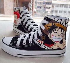 Hand Painted Canvas Shoes One Piece Anime Shoes Painting Canvas Shoes