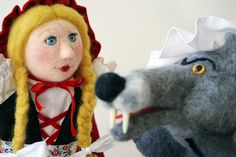 Needle felted Red Riding Hood puppets by Laura Lee Burch (needle felted head, sewn body and costume)