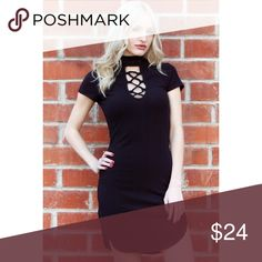 Ribbed Lace Up Black Dress Trendy & flattering ribbed black dress featuring lace up front and choker neck cut. Perfect for a night out on the town or a walk in the city! I am wearing size medium.  💗BRAND NEW BOUTIQUE WITHOUT TAGS 💗PRICE IS FIRM  💗NO TRADES 💗BUNDLE & SAVE 20% Dresses Midi