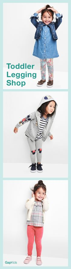 """""""How to make getting your toddler dressed super easy: 1.Pick a pair of leggings: plain, print, or knee patches? 2.Top with a comfy dress or cozy hoodie. 3.Mix and match for another look tomorrow! Shop our fave leggings for your little one on Gap.com"""""""