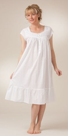 Cap Sleeve Mid-Length White Cotton Nightgowns by Eileen West  eef151946