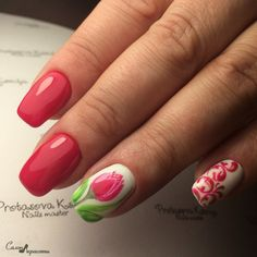 March nails, Nails with tulips, Pink spring nails, Spring designs for nails, Spring nail art, Spring nail ideas, Spring nails 2017, Women day nails