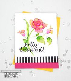 Altenew stamp, watercolor video, flower sketch