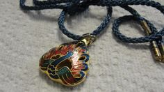 Cloisonne Peacock Pendant Blue Rope Necklace by FishersofWomen on Etsy