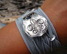 Rustic Jewelry Silver Bracelet Fleur de Lis Art by HappyGoLicky, $49.50