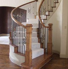 staircase ideas | Stair Design Ideas - Curved Staircase Ideas - Newel
