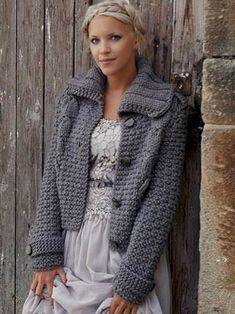 Crochet Patterns Jacket Knitting with thick wool … Crochet Bolero, Crochet Jacket, Knit Jacket, Knit Crochet, Big Wool, Quick Knits, Jacket Pattern, Crochet Clothes, Pulls