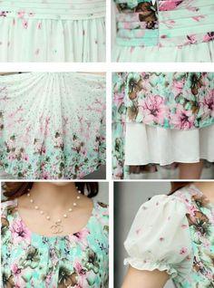 Free Shipping High Quality Bohemian Style Fashion Puff Sleeve Flower Printed Short Sleeve Chiffon Long Dress-Dress-SheSimplyShops