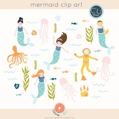 Mermaid Digital Clip Art - Hand-Drawn Illustrations- Commercial Use Royalty Free - instant download by citrus and mint #illustration #citrusandmint #scrapbooking