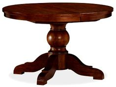 Sumner Extending Pedestal Table & Aaron Chair Set (Set of Rustic Mahogany stain Round Pedestal Dining Table, Wood Pedestal, Extendable Dining Table, Round Dining, Dining Room Table, Table And Chairs, Dining Chairs, Kitchen Tables, Kitchen Ideas