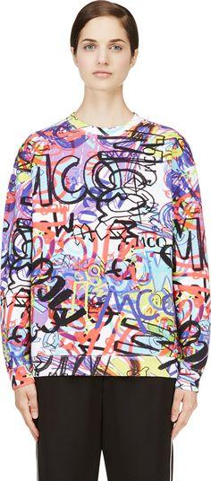 McQ Alexander Mcqueen - Purple Graffiti Print Sweatshirt