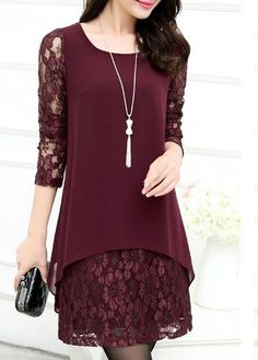 Lace Panel Long Sleeve Wine Red Straight Dress on sale only US$23.97 now, buy cheap Lace Panel Long Sleeve Wine Red Straight Dress at lulugal.com
