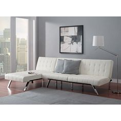 Modern Sofa Bed Sleeper Faux Leather Convertible Sofa Set Couch Bed Sleeper Chaise Lounge Furniture Vanilla White: Home & Garden: Sofa Bed With Chaise, Sectional Sleeper Sofa, Futon Sofa Bed, Tufted Sofa, White Sectional, Sleeper Chair, Lounge Couch, Large Sectional, Lounge Furniture