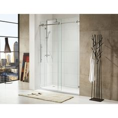 This full length glass shower door is an ideal way to show off the redesigned shower in your home. Its high quality construction includes chrome-plated hardware and thick tempered glass panels for an elegant look no one can deny.