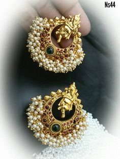 Beautiful chandbali style ear rings. Ear rings with vinayaka design and guttapusala hanging. 27 August 2017