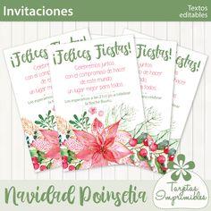 Navidad poinsetia invitaciones imprimibles   Tarjetas Imprimibles Bullet Journal, Printable Invitations, Printable Cards, Card Designs, Party, Navidad