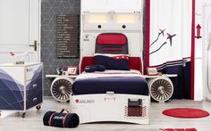 First Class Airplane Twin Storage Bed with Headboard Storage and Two Airplane Motor and Wings Airplane Room Decor, Airplane Bedroom, Airplane Kids, Bedroom Themes, Bedroom Decor, Kids Bedroom, Bedroom Ideas, Unique Kids Beds, Kids Car Bed